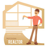 The concept of real estate services. Agent showing a house. Stock Image