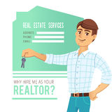 The concept of real estate services. Agent showing a house. Character male with the keys in his hands. For the design Stock Photo