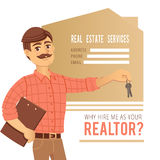 The concept of real estate services. Agent showing a house. royalty free illustration