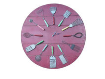 Concept of rec kitchen wall clock isolated over white. Background Royalty Free Stock Photo