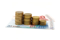 Concept of recession with banknotes and coins Royalty Free Stock Photo
