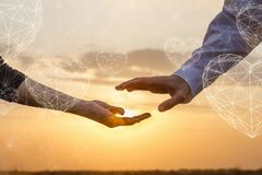 Concept of recognition of love and romantic feelings on a sunset background