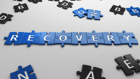 Concept recovery. Isolated word recovery with clipping path Royalty Free Stock Images