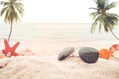 Concept of recreation in summertime on tropical beach. Stock Photos