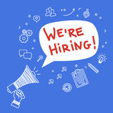 Concept of recruitment. We are hiring. Hand holding megaphone. Hand drawn vector illustration Stock Photo