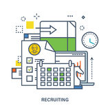 Concept of recruitment in work. Color Line icons. Flat Vector illustration. Can be used for banner, business data, web design, brochure template Royalty Free Stock Image