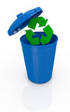 Concept of recycling. One recycling bin with the recycle symbol that goes in (3d render Stock Photos