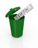 Concept of recycling. Top view of an open recycling bin with the text: recycle (3d render Royalty Free Stock Image