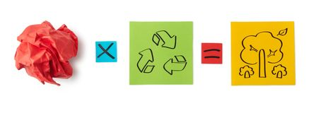 Concept of recycling. Colored paper sheets. Stock Image