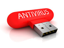 Concept red antivirus usb flash drive over white Royalty Free Stock Photo