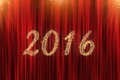 Concept for 2016 with red curtain Royalty Free Stock Photos