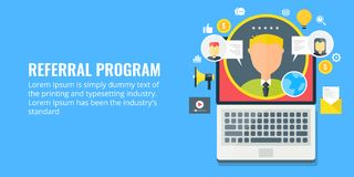 Referral program - network marketing - affiliate partnership. Flat design marketing banner. Concept of referral marketing program, network marketing for royalty free illustration