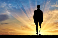 Concept of rehabilitation of invalids with prosthetic legs royalty free stock photos