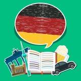 Concept reis of het bestuderen van het Duits Stock Foto