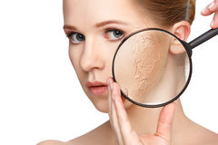 Concept of rejuvenation and skin care. face of a beautiful girl royalty free stock photography