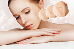 Concept of rejuvenation and skin care. face of a beautiful girl Stock Image