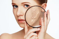 Concept of rejuvenation and skin care. face of a beautiful girl Stock Photography