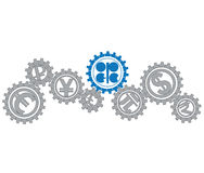 Concept of relationship OPEC mi world economy Royalty Free Stock Image