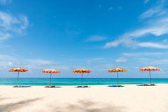 Concept of relax on tropical resort beach. With parasol sunshades on sand in line with blue sea and sky on background Royalty Free Stock Photography
