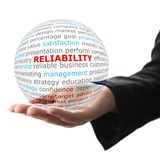 Concept of reliability in business. Words on the transparent ball in the hand Royalty Free Stock Photo