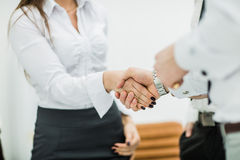 Concept of reliability and partnership - handshake of business p Stock Images