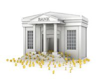 The concept of reliable savings. A bank building that fills with gold coins. Royalty Free Stock Images
