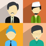 Concept of religion characters. Set of four religion character with a Hindu man, Muslim man, Sikh boy and a Christian  boy on colorful background Royalty Free Stock Photos