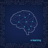 Concept of remote learning.  Silhouette of a human brain in polygonal style and elements of an integrated microcircuit on a dark b. Lue background.  E-learning Royalty Free Stock Photos