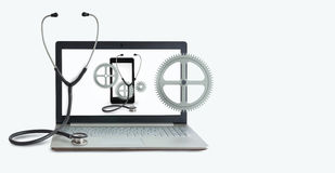 Concept of repair computers and mobile device. Stock Photos