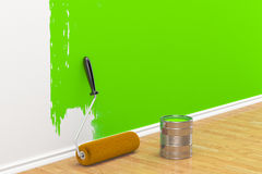 Concept on repair: roller brush painting the white wall. On white Stock Photo