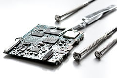 Concept repair smartphone - parts of digital gadgets with tools Stock Photography