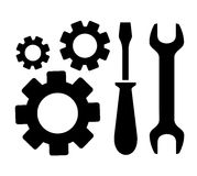 Concept repair symbol. With sprocket, wrench and screwdriver silhouette Stock Images