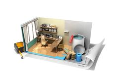 Concept of repair work isometric low poly home room renovation i. Con 3d render on white Stock Photos