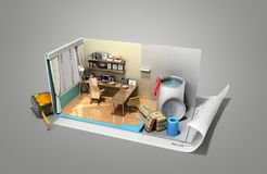 Concept of repair work isometric low poly home room renovation i. Con 3d render on grey Royalty Free Stock Photo