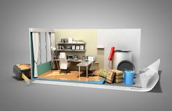 Concept of repair work isometric low poly home room renovation i. Con 3d render on grey Royalty Free Stock Photography