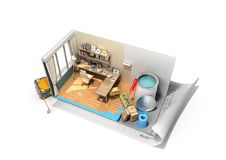 Concept of repair work isometric low poly home room renovation i. Con 3d render on white Royalty Free Stock Image