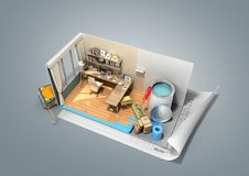Concept of repair work isometric low poly home room renovation i. Con 3d render on grey Stock Photography