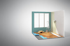 Concept of repair work isometric low poly home room renovation i. Con 3d render on Stock Image