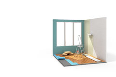 Concept of repair work isometric low poly home room renovation i. Con 3d render on Royalty Free Stock Photography