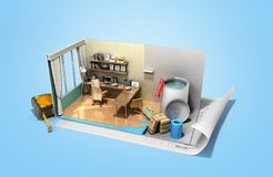 Concept of repair work isometric low poly home room renovation i. Con 3d render on blue Royalty Free Stock Photo