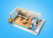 Concept of repair work isometric low poly home room renovation i. Con 3d render on blue Stock Photo
