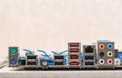 Concept reparatie en assemblagecontactdozenmotherboard met plaats FO Royalty-vrije Stock Afbeeldingen
