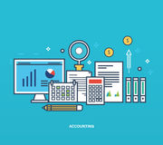 Concept - reporting, types and methods of economic accounting, management planning. Concept of illustration - reporting, monitoring, planning, types and methods Royalty Free Stock Photo