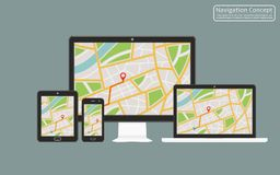 Concept of responsive navigation application for desktop computer, laptop, tablet, mobile phone with gps navigation map on screen Royalty Free Stock Image