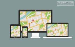 Concept of responsive navigation application for desktop computer, laptop, tablet, mobile phone with gps navigation map on screen. Vector illustration stock illustration