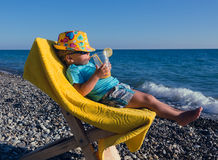 The concept of rest with a toddler Royalty Free Stock Image