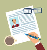 Concept of Resume Writing, Flat Simple Icons Royalty Free Stock Photos