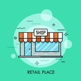 Concept of retail place, convenience store, shopping center. Small cute shop with awning, signboard, glass windows and entrance door. Concept of retail place stock illustration