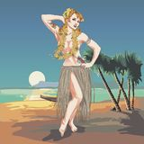 Concept of retro woman woman dancing in Hawaiian dress. Vintage hula girl dancing on the beach Stock Image