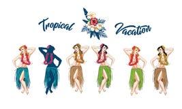Concept of retro woman woman dancing in Hawaiian dress